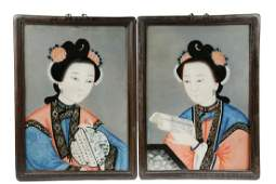 PAIR OF EARLY 19TH C CHINESE REVERSE GLASS PAINTINGS