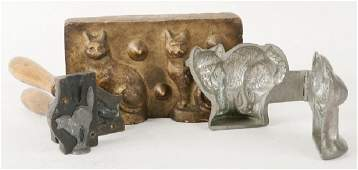 3 EARLY CAT FORM MOLDS