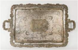 SILVER PLATED TWOHANDLED TRAY