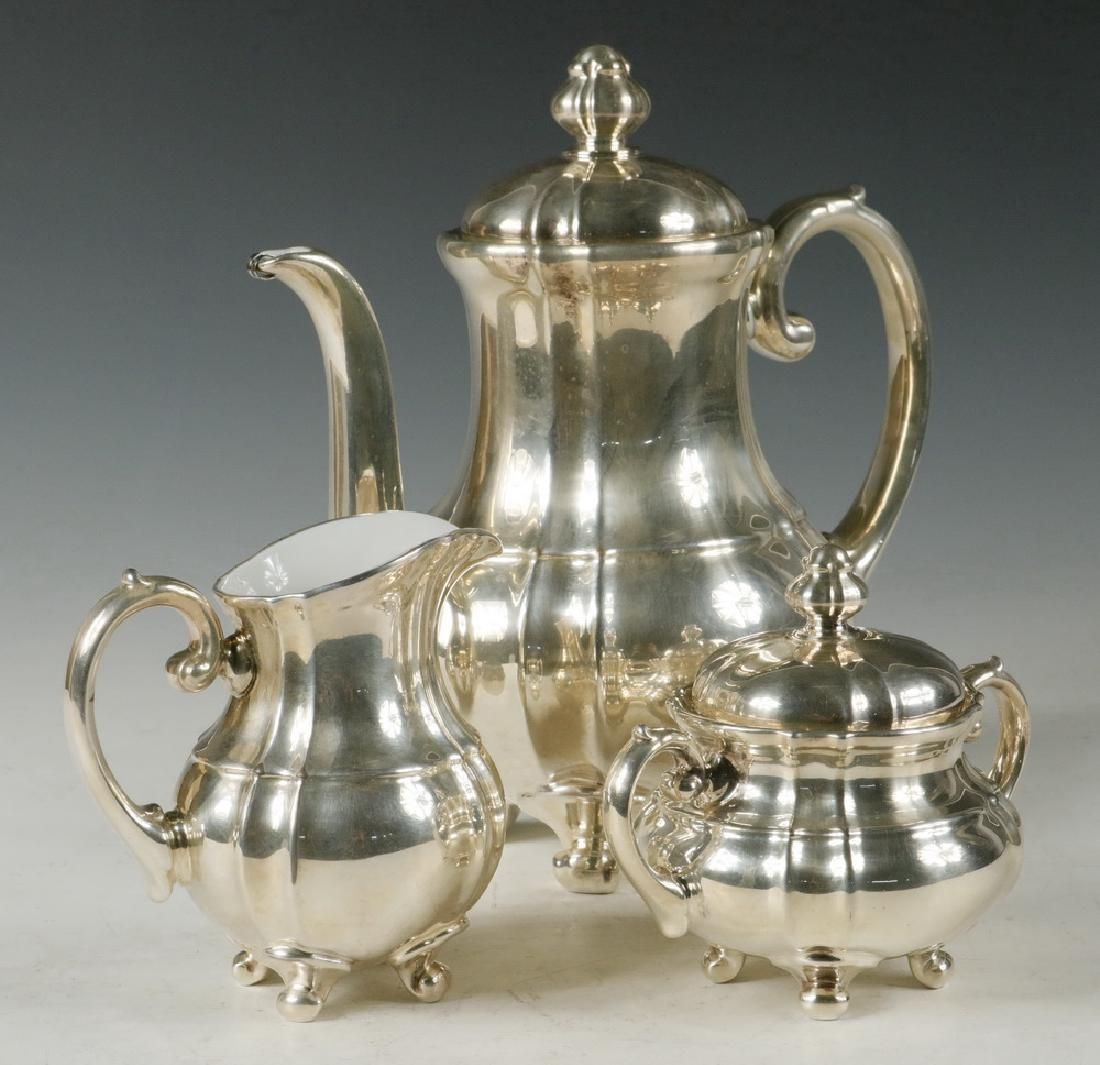 (3 PC) WMF SILVER OVER PORCELAIN COFFEE SET