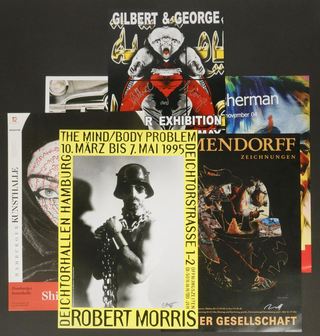 (6) SIGNED EXHIBITION POSTERS - ROSENQUIST, SHERMAN,