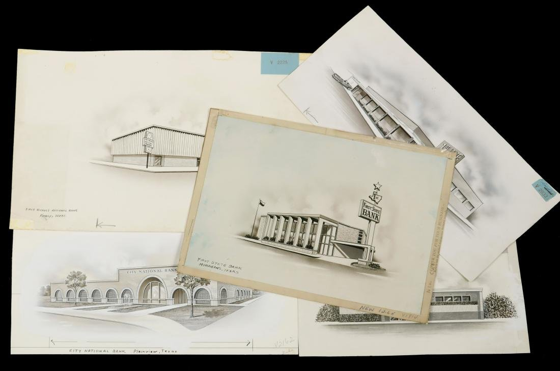(9) ARCHITECTURAL RENDERINGS OF 1950S BANKS