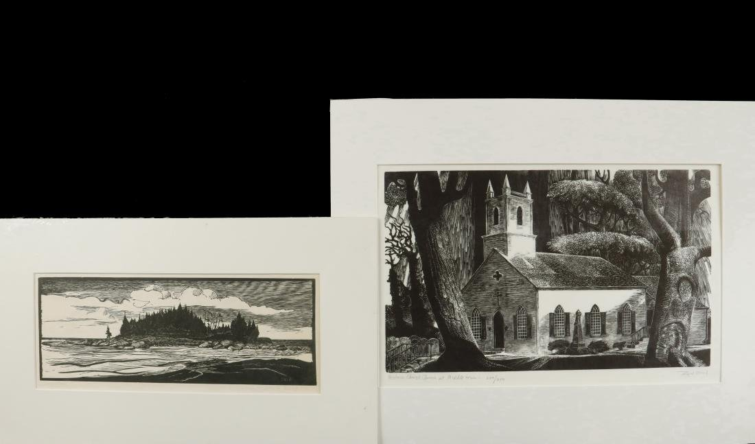 (2) 20TH C. WOODCUT PRINTS