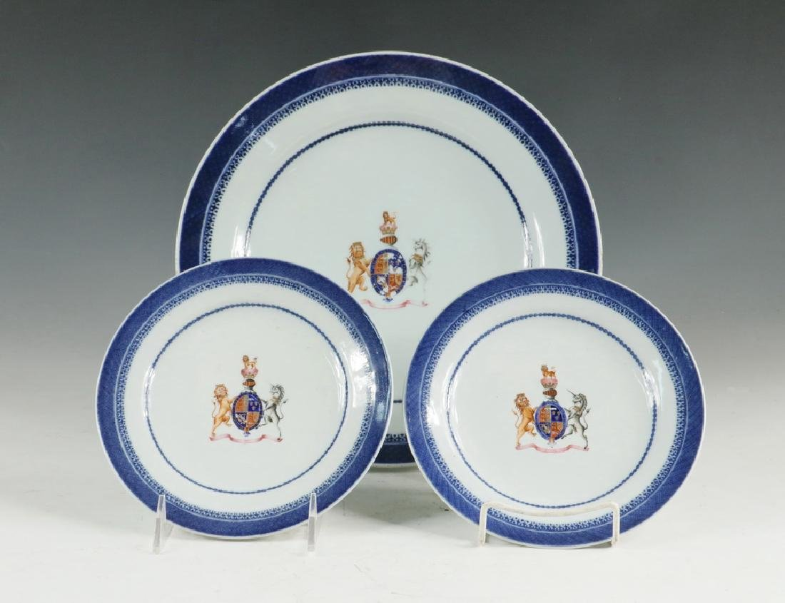 (3) CHINESE ARMORIAL PLATES