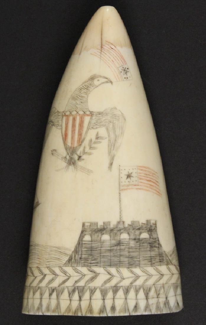 19TH C. SCRIMSHAWN WHALE'S TOOTH - 2