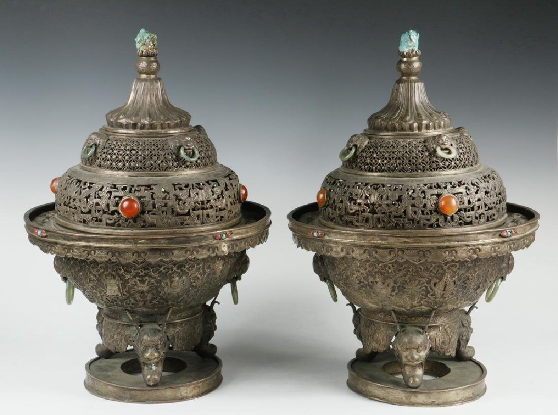 PAIR BRONZE CENSERS