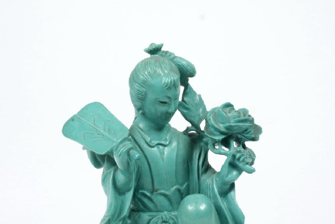 TURQUOISE CARVED COURT LADY - 3