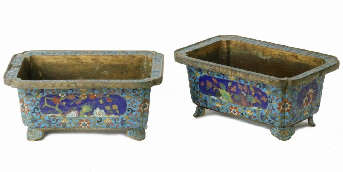 PAIR OF SMALL CHINESE CLOISONNE PLANTERS