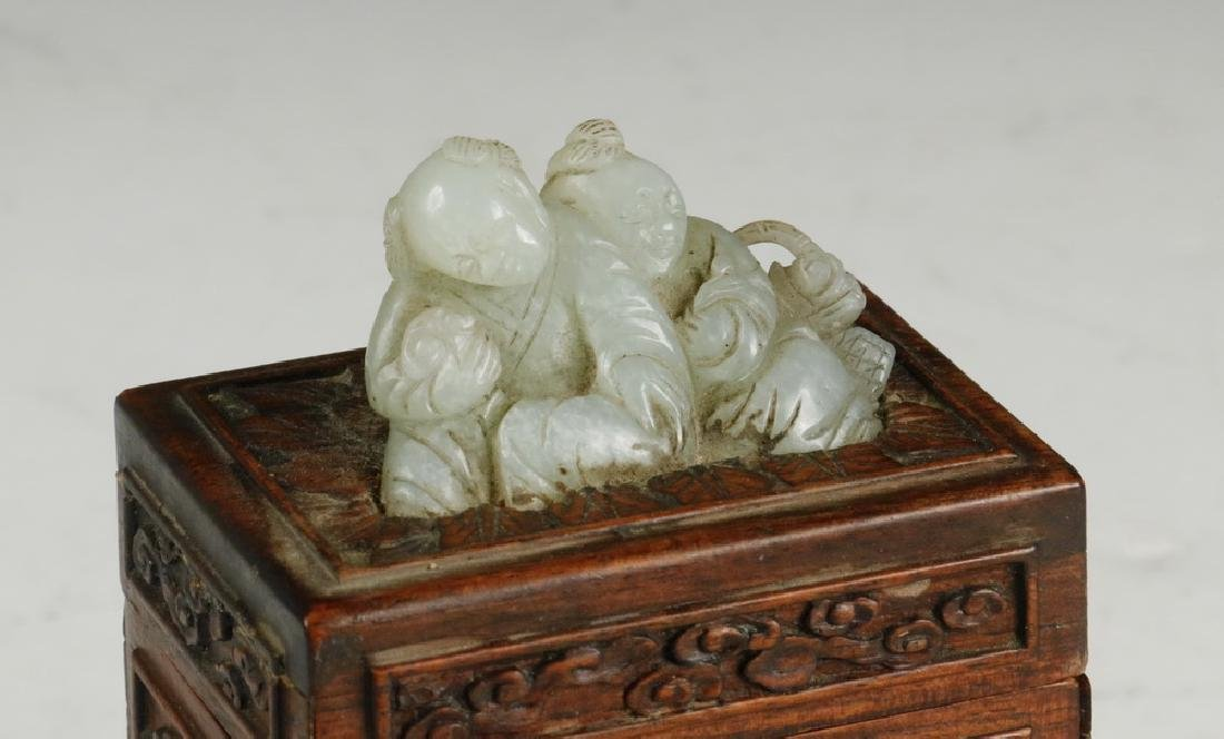CHINESE WOOD AND JADE BOX - 2