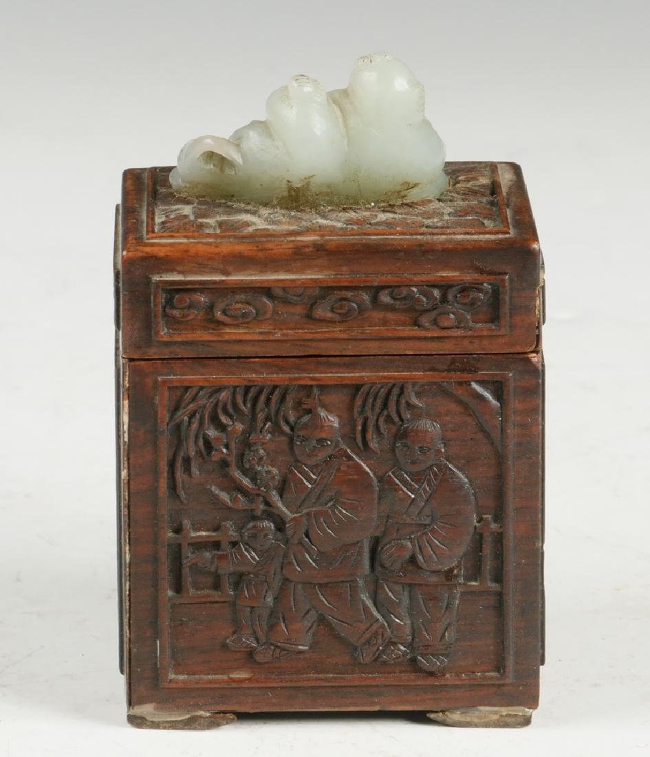 CHINESE WOOD AND JADE BOX - 3