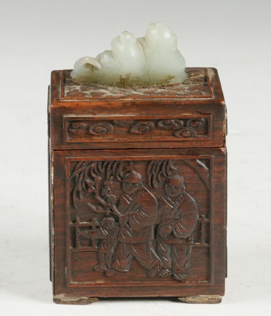 CHINESE WOOD AND JADE BOX - 3