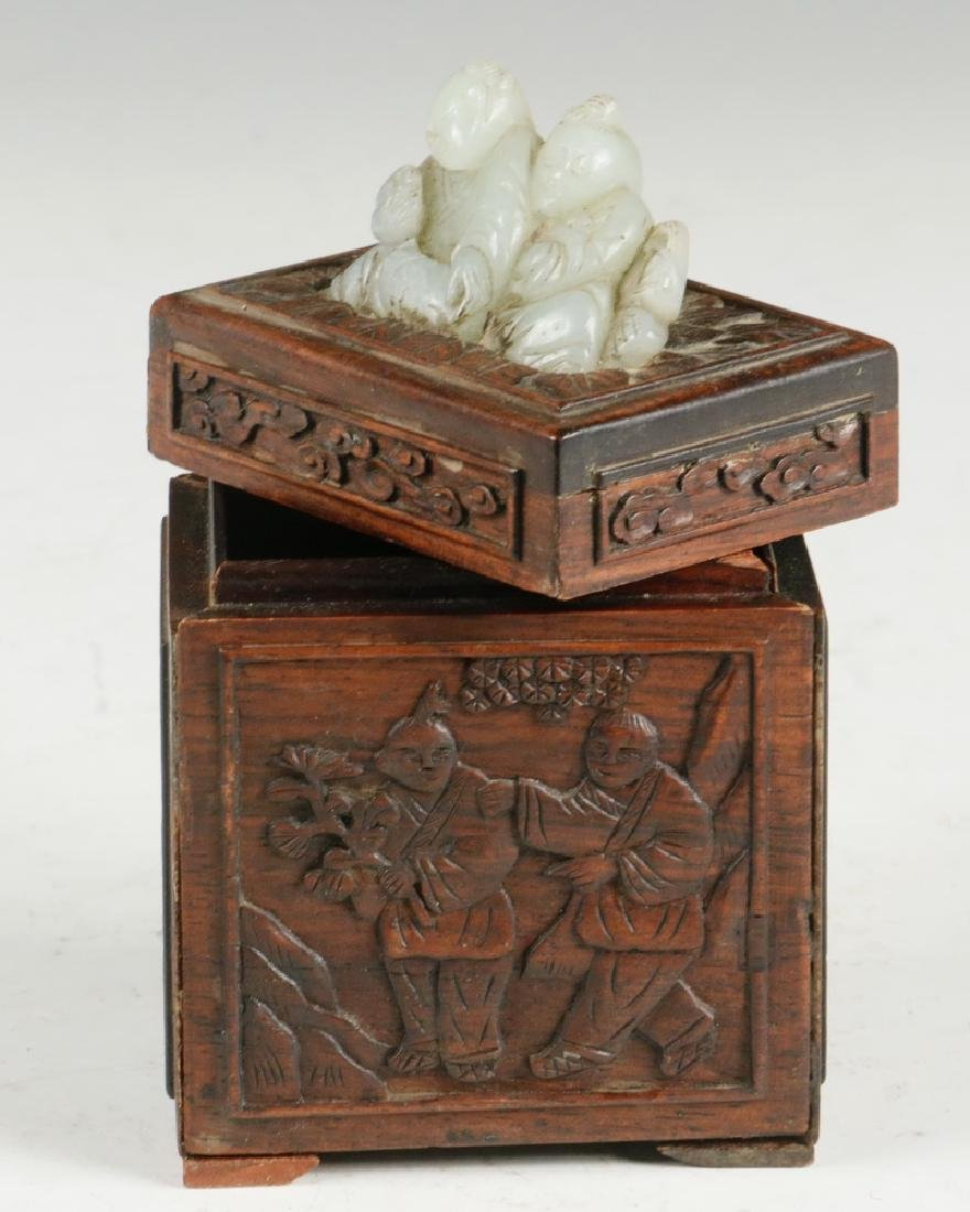 CHINESE WOOD AND JADE BOX - 4