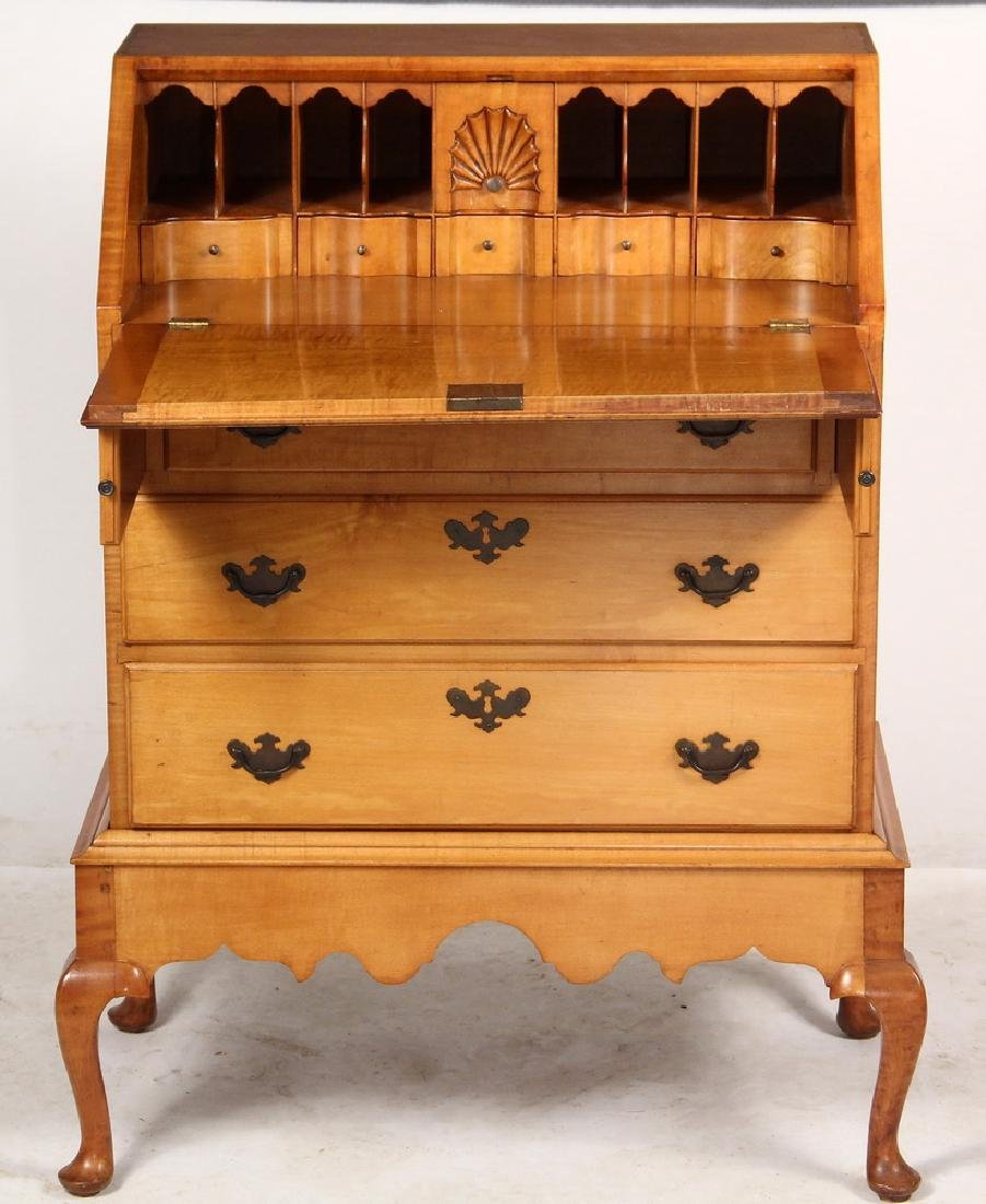 DIMINUTIVE TIGER MAPLE SLANT FRONT DESK - 3