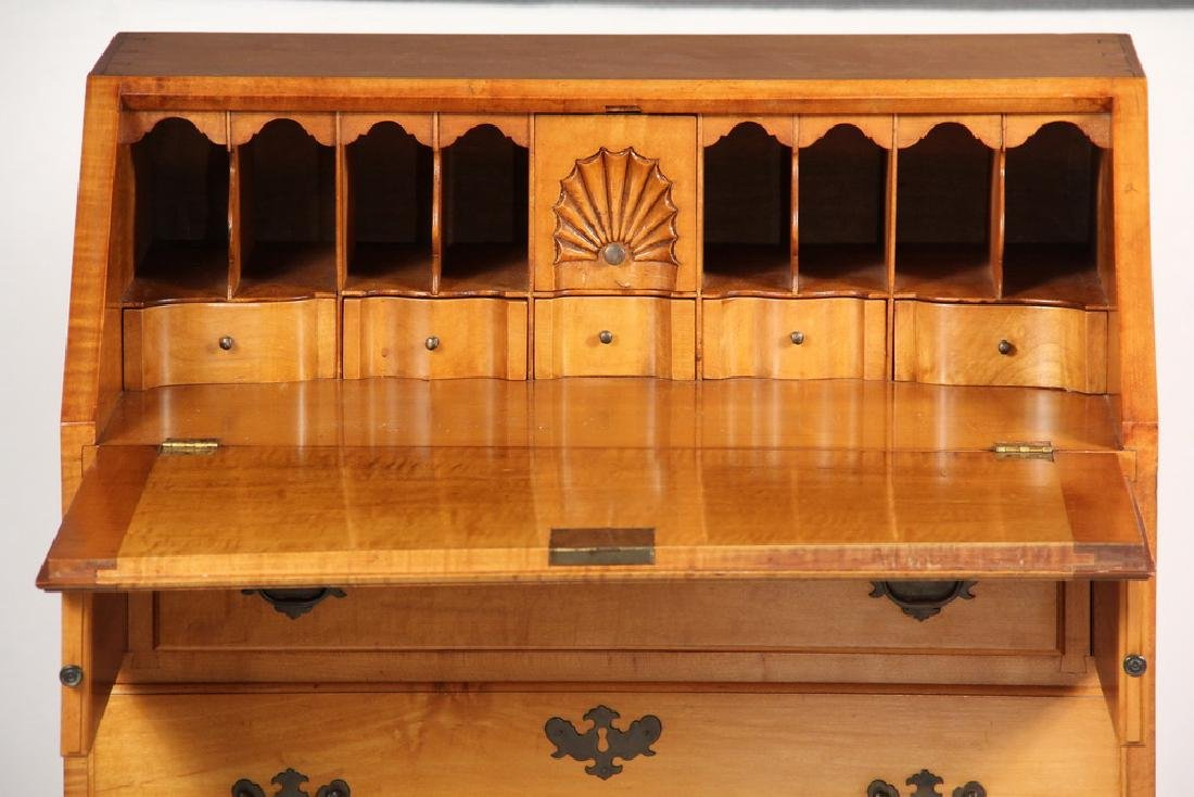 DIMINUTIVE TIGER MAPLE SLANT FRONT DESK - 4