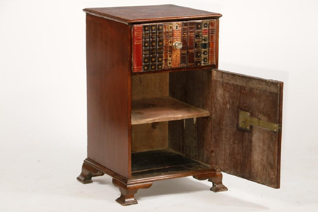 VICTORIAN ENGLISH CABINET WITH BOOK BINDING FRONT - 2