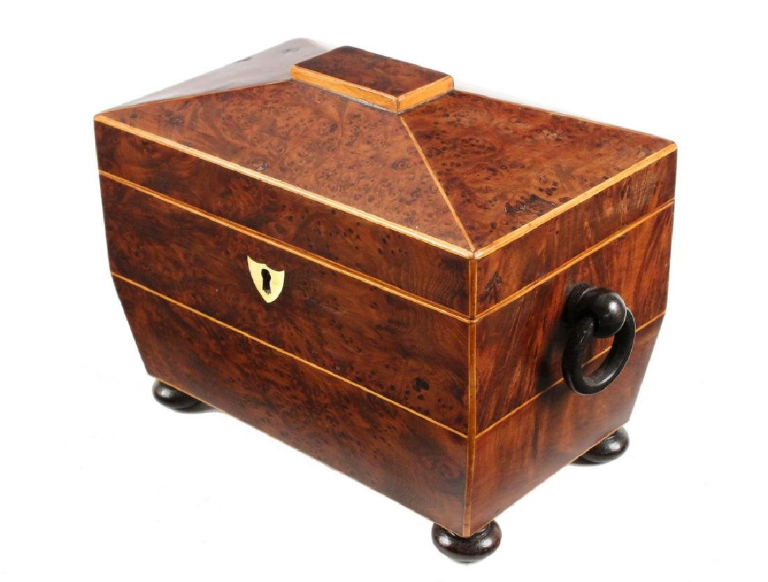 BURLWOOD TEA CADDY