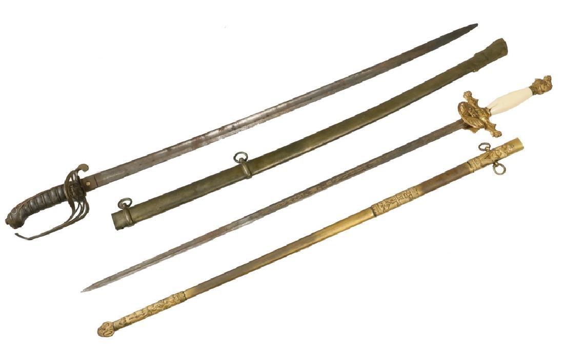 BRITISH INFANTRY SWORD WITH SCABBARD & MASONIC SWORD