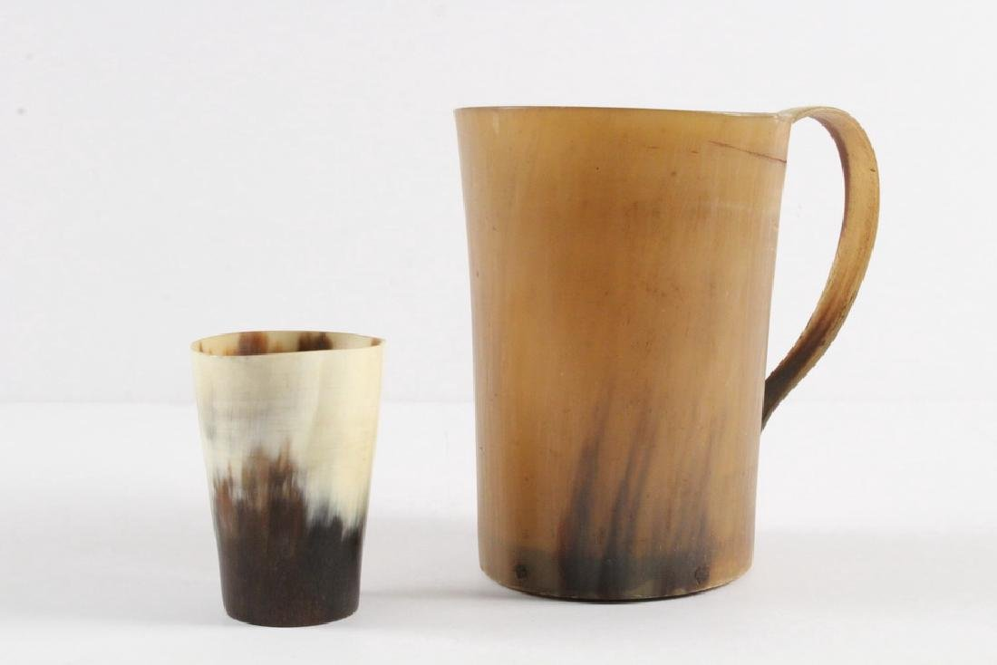 (2) EARLY HORN CUPS - 2