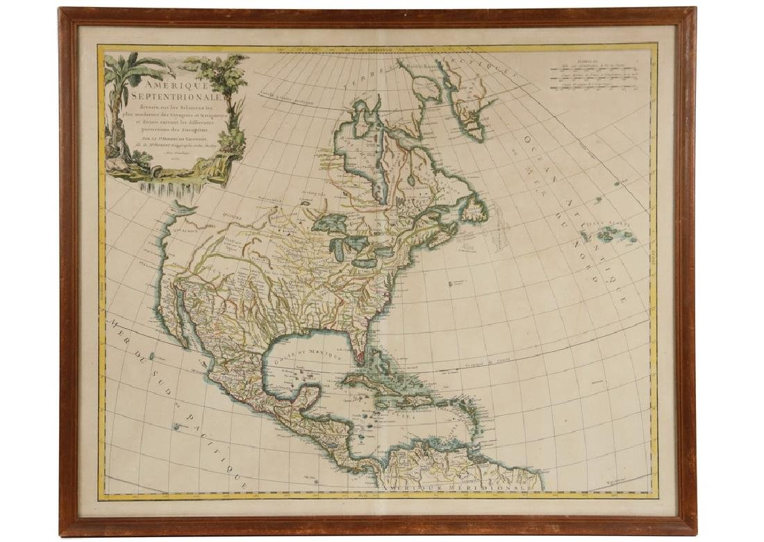 18TH C. FRENCH MAP OF THE AMERICAS