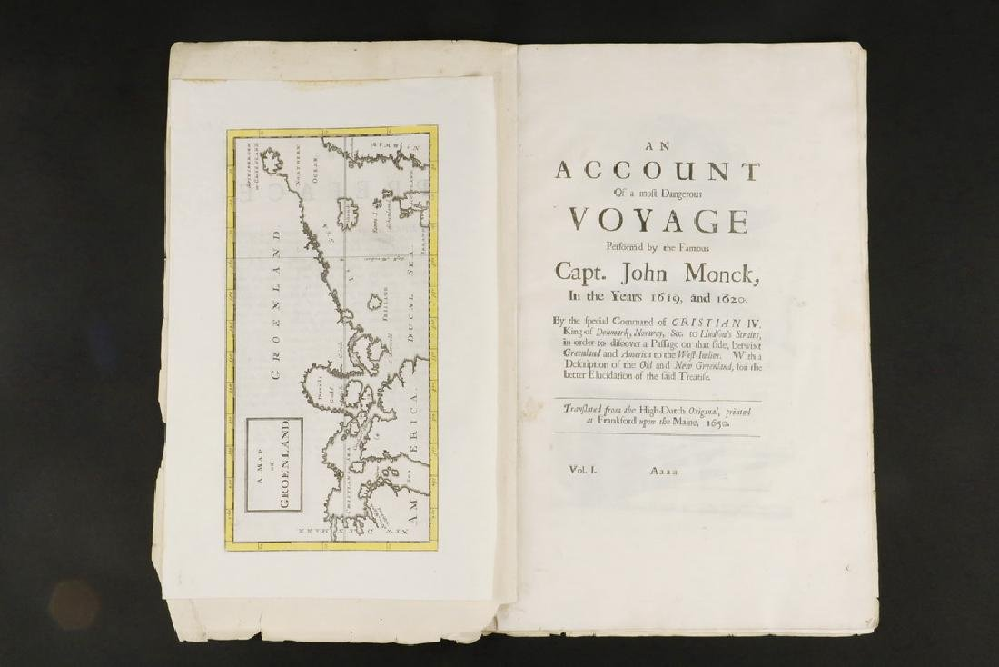 FRAGMENT OF 17TH C. EXPLORER'S BOOK WITH MAP &