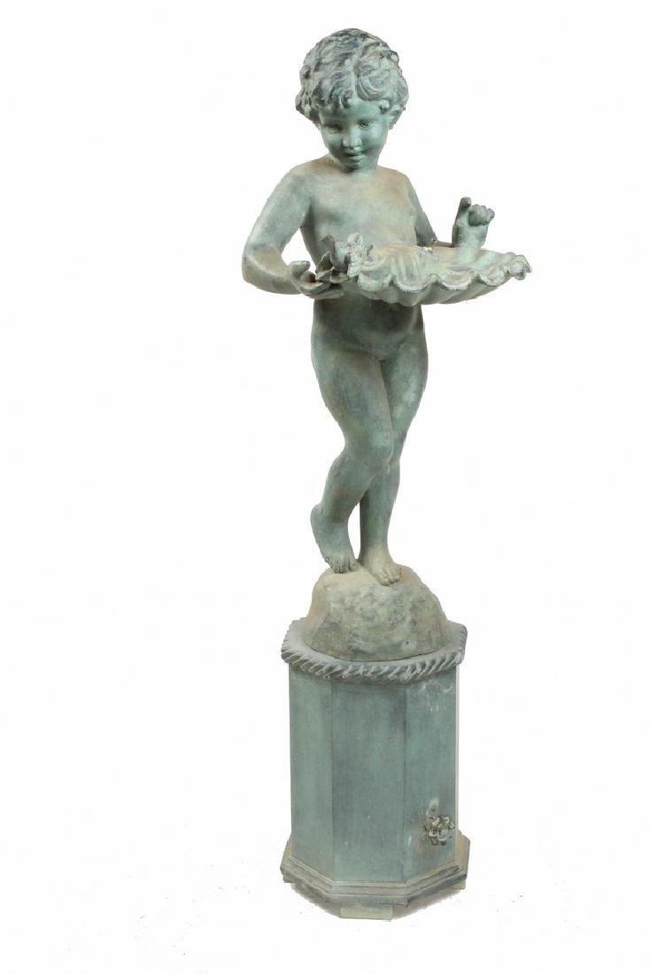 BRONZED ZINC CHERUB FOUNTAIN ON PLINTH