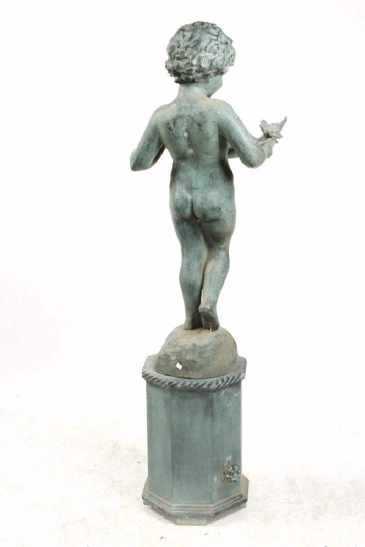 BRONZED ZINC CHERUB FOUNTAIN ON PLINTH - 3
