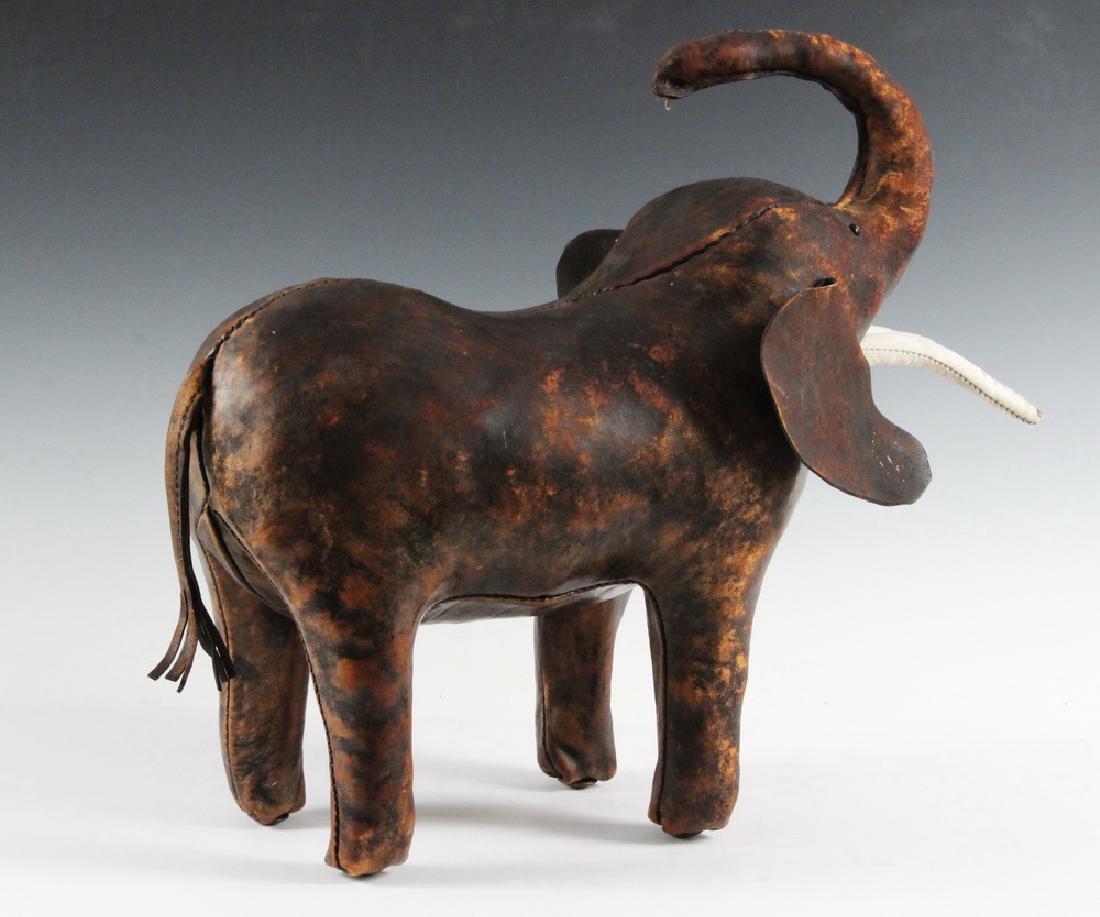 LEATHER ELEPHANT FOOTSTOOL - 2