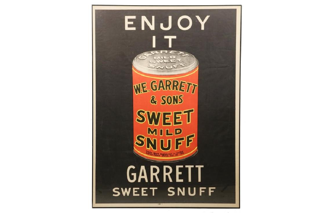 FRAMED GARRETT SWEET SNUFF BROADSIDE POSTER