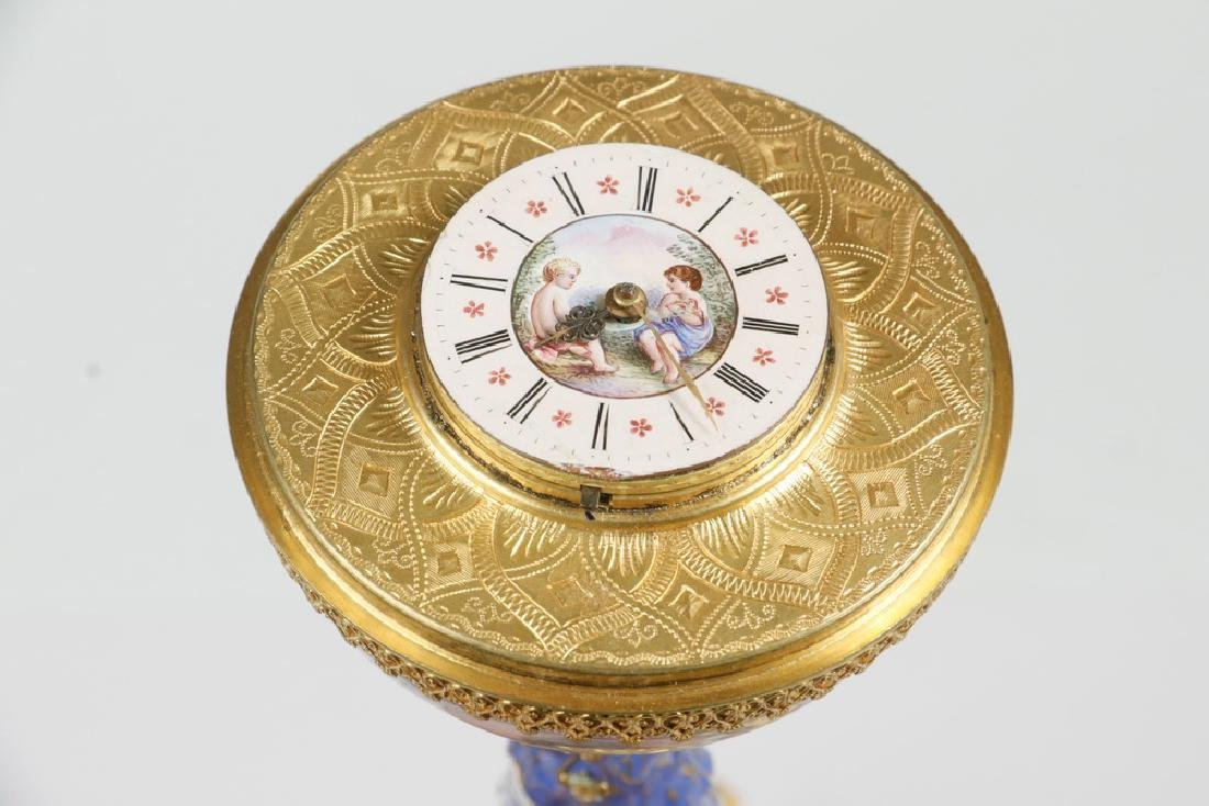 VIENNESE GILT METAL & ENAMEL TABLE CLOCK - 2