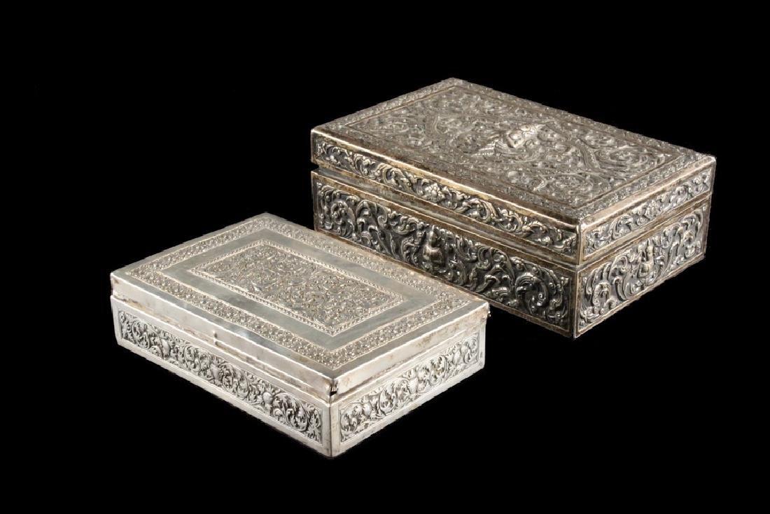 (2) INDO-PERSIAN SILVER BOXES