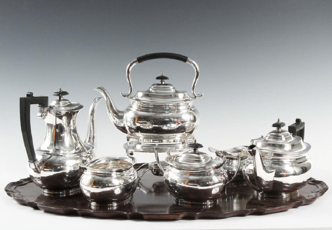(6 PC) ENGLISH SILVER PLATE BEVERAGE SET PLUS (1) TRAY