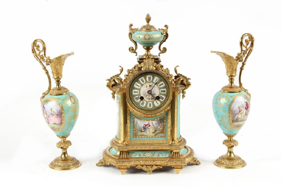 (3 PC) CLOCK GARNITURE SET