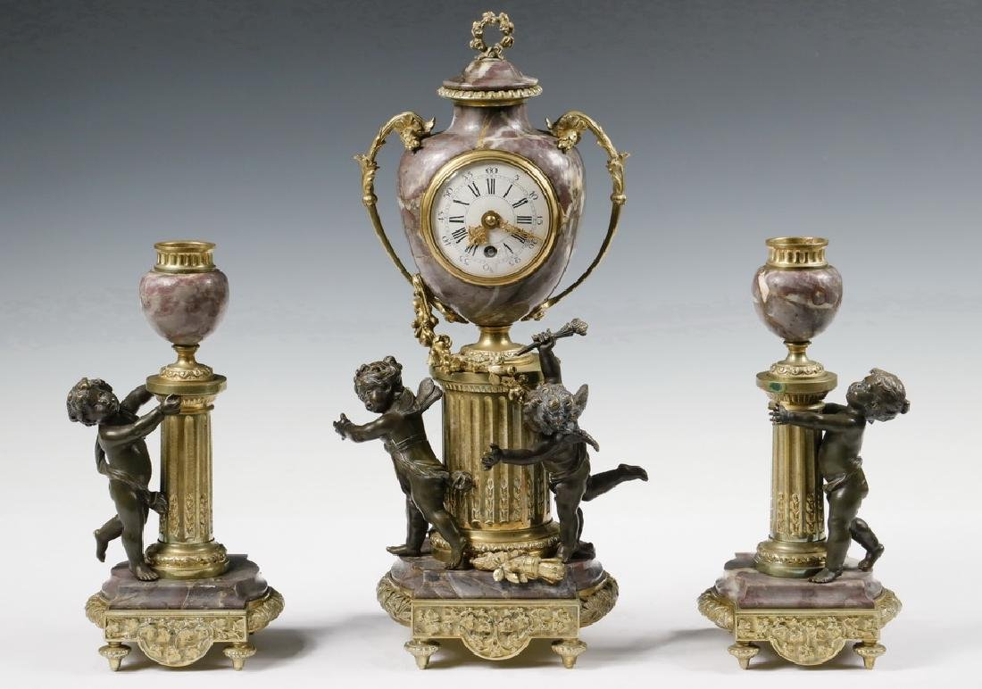 (3 PC) MANTEL CLOCK GARNITURE SET