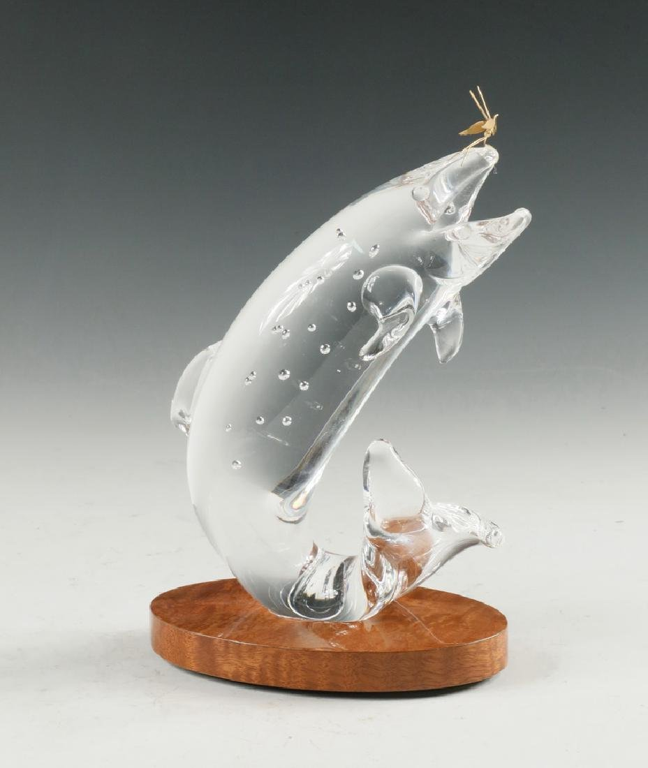 STEUBEN GLASS TROUT & FLY