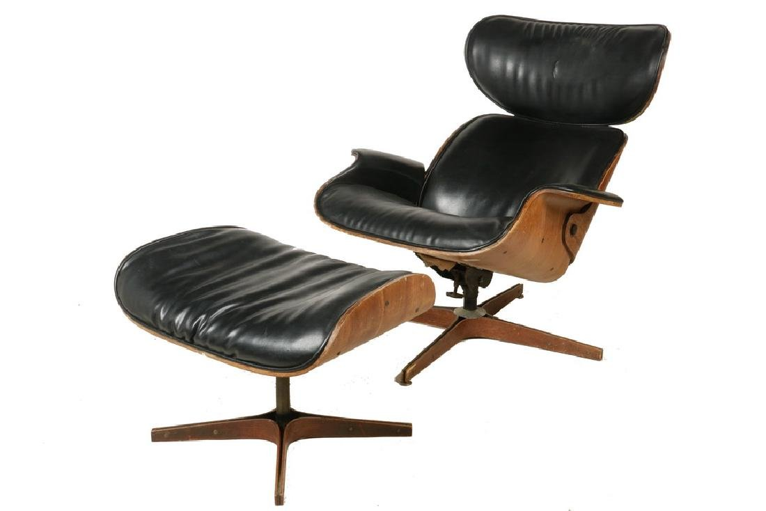MID-CENTURY EAMES STYLE CHAIR & OTTOMAN BY PLYCRAFT