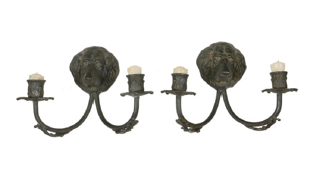 PAIR OF BRONZE DOG HEAD SCONCES