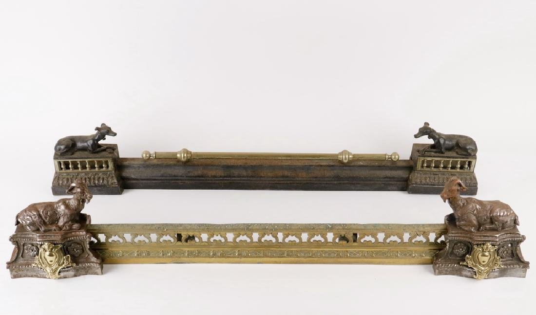 (2) 19TH C. FIGURAL BRASS FIREPLACE CHENET FENDERS