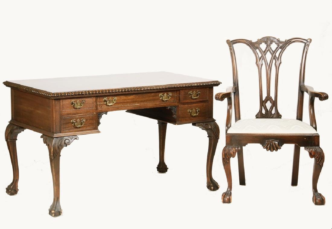 CHIPPENDALE STYLE DESK WITH ARMCHAIR
