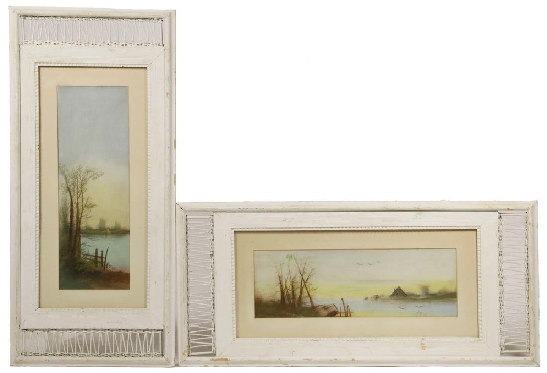 PAIR OF WICKER PICTURE FRAMES WITH PASTELS