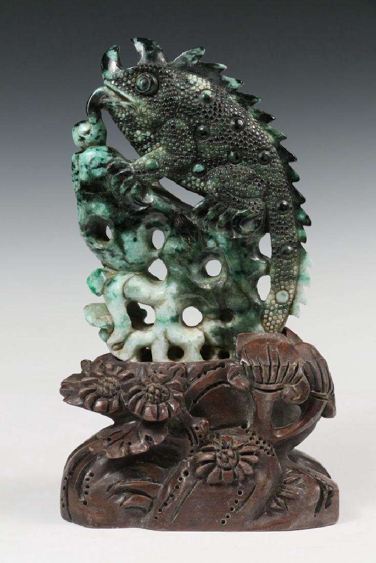 CHINESE JADE CARVING ON STAND