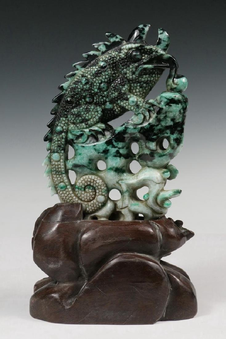 CHINESE JADE CARVING ON STAND - 2