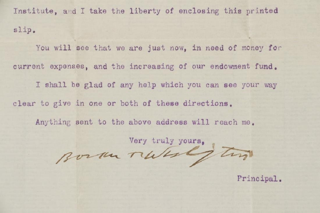 LETTER TLS FROM BOOKER T. WASHINGTON (1856-1915) TO