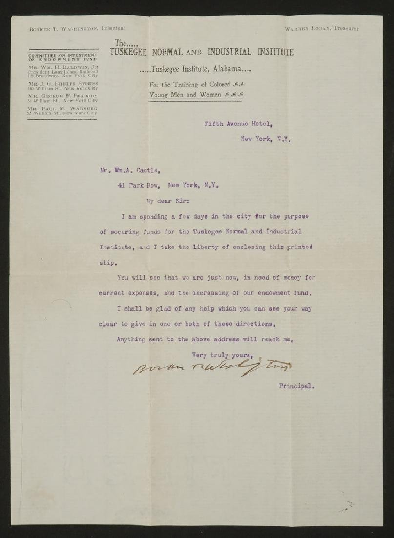 LETTER TLS FROM BOOKER T. WASHINGTON (1856-1915) TO - 2