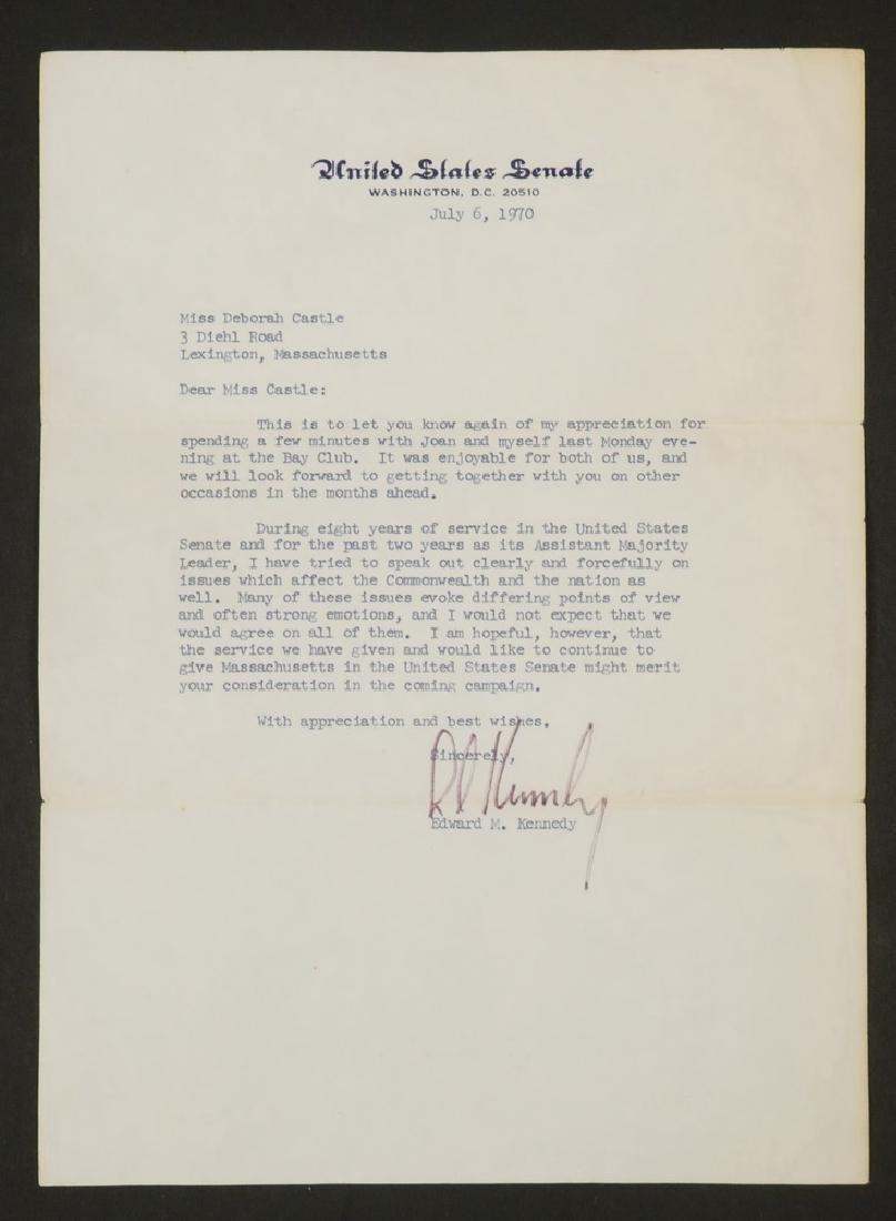 LETTER TLS FROM SENATOR EDWARD M. KENNEDY (1932-2009) - 2