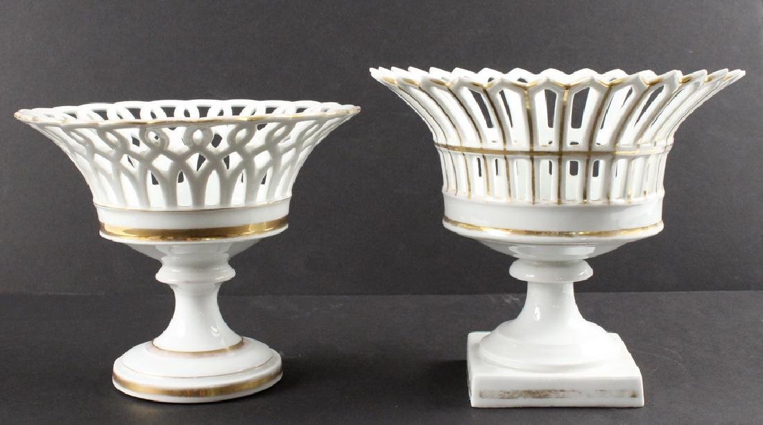 (2) OLD PARIS PORCELAIN COMPOTES