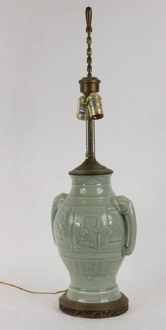 CHINESE POTTERY LAMP