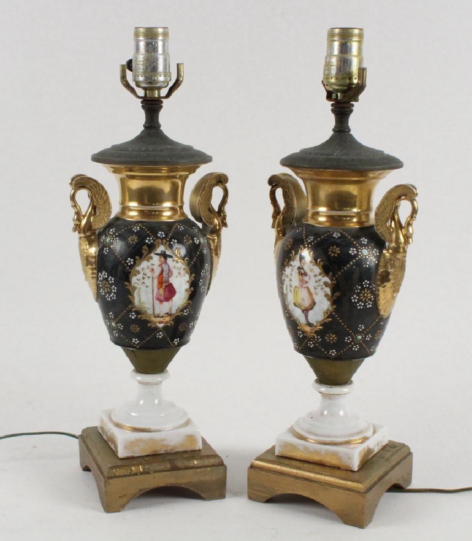 PR OLD PARIS PORCELAIN VASES AS LAMPS