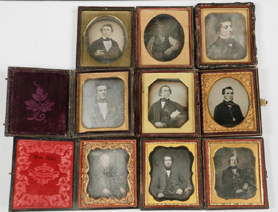 (9) CASED DAGUERREOTYPE PHOTOS OF MEN
