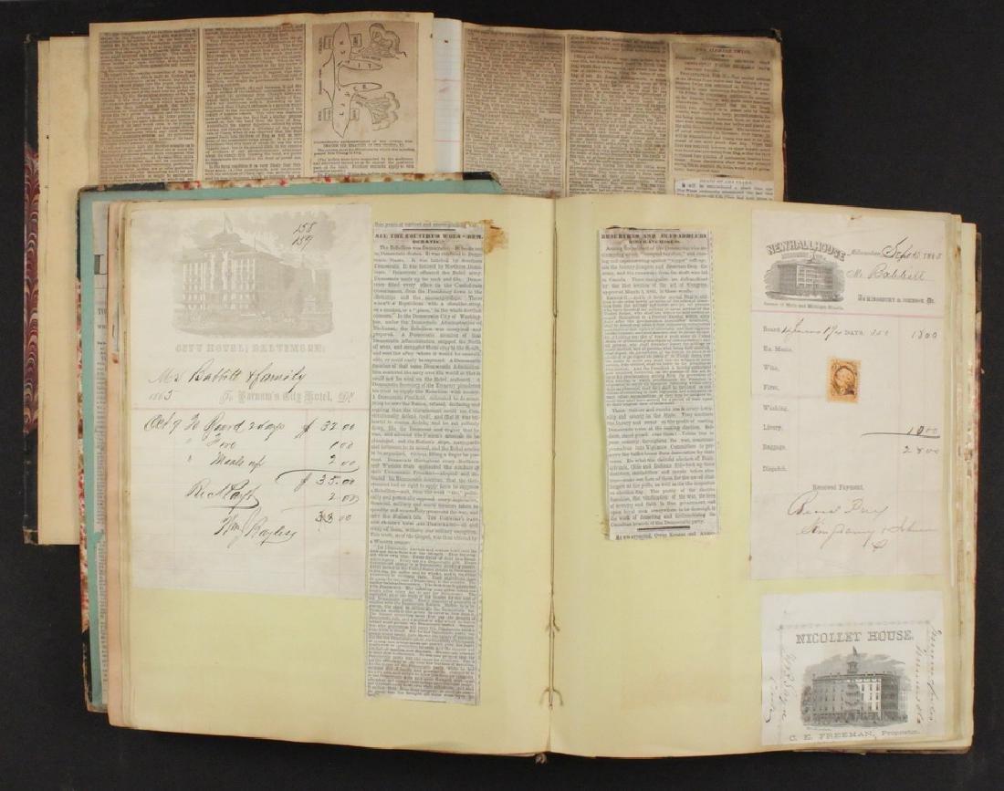 (2) SCRAPBOOKS OF B.T.B. BABBITT, 1870S-1890S.
