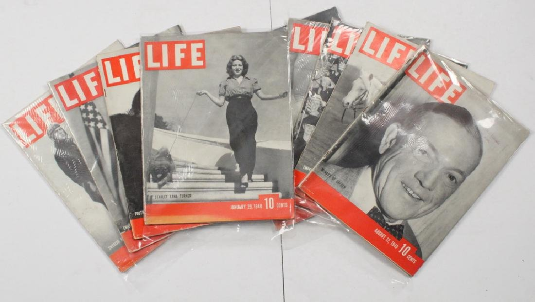 (40) 1940 LIFE MAGAZINES